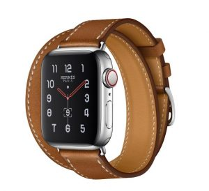 Apple Watch Hermès - Stainless Steel Case with Fauve Barenia Leather Double Tour