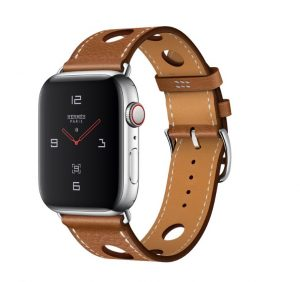 Apple Watch Hermès - Stainless Steel Case with Fauve Grained Barenia Leather Single Tour Rallye