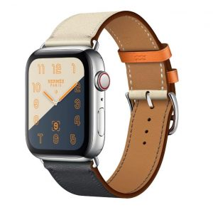 Apple Watch Hermes - Stainless Steel Case with Indigo Craie Orange Swift Leather