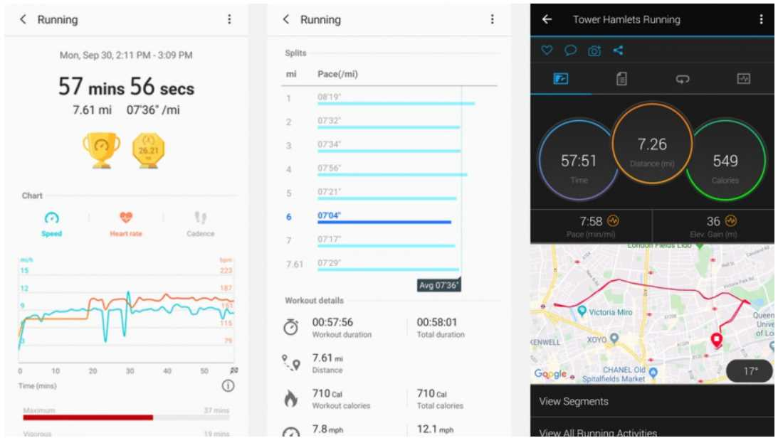 Run monitoring compared Samsung Galaxy Watch Active 2 VS Garmin