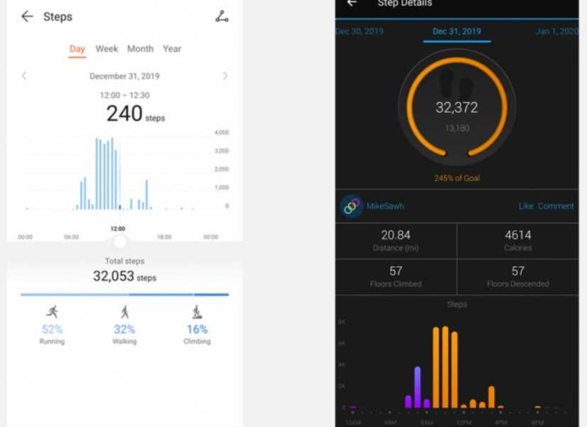 Step monitoring Honor MagicWatch 2 and Garmin Fenix 6