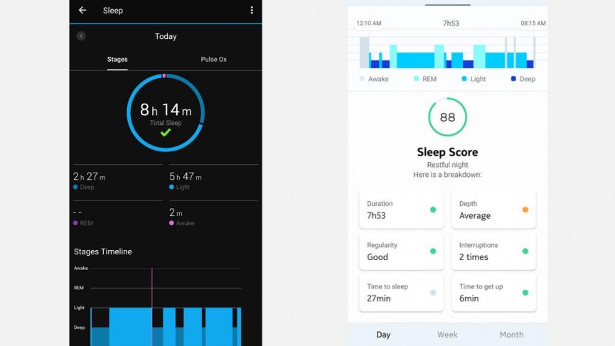 Garmin sleep data example
